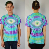 EYE BALL Tie Dye Shirt Small Men Soft Grunge Trippy Hippie Womens Unisex Handmade Clothing Hella Dope Bright Neon Jewel Tone FUNKY