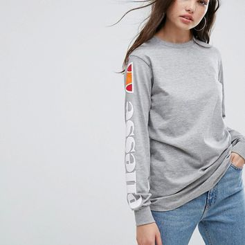 Ellesse Long Sleeve T-Shirt With Sleeve Print at asos.com