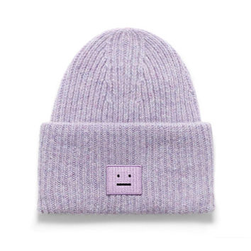 Smiley Face Womens Winter Knitted Beanie Unisex Ski Snowboard Skateboard Purple Cuffed Skully Hat