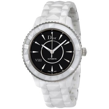 Dior VIII Black Dial White Ceramic Automatic Ladies Watch CD1245E3C004