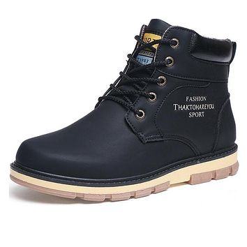 Newest Keep Warm Men Winter Boots High Quality pu Leather Wear Resisting Casual Shoes Working Fahsion Men Boots