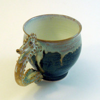 MUG Seahorse Chocolate Brown with Milky Seafoam Sea by skybirdarts