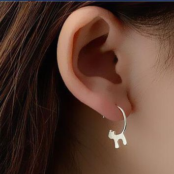 New !Fashion jewelry  Silver Lovely Cat Earrings