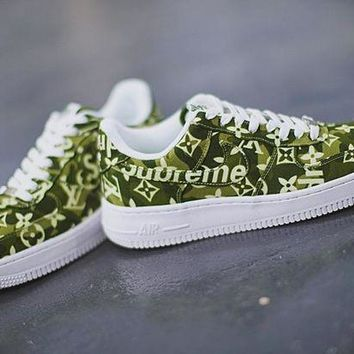 "PEAPYN6 Louis vuitton x Supreme x Nike Air Force 1""DenimLV Green""AA5360-300"