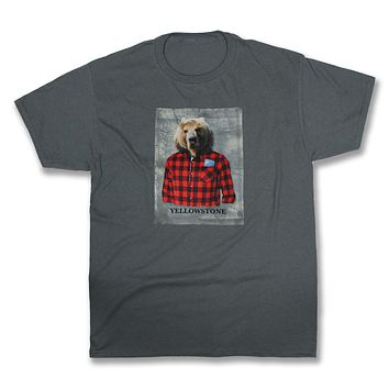 Henri: Bear in a Plaid Flannel Shirt, Charcoal Grey