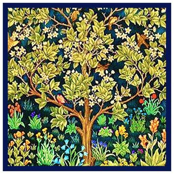 William Morris Square Tree Of Life Blue Background Design Counted Cross Stitch or Counted Needlepoint Pattern
