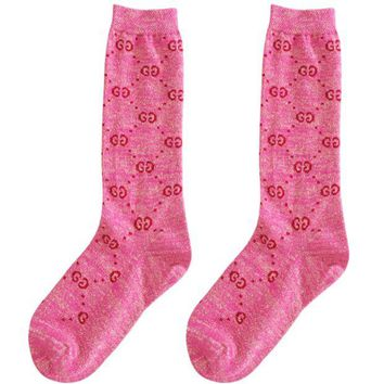 DCCKR2 GUCCI autumn and winter in the tube school wind wild double knit pile piles socks Pink