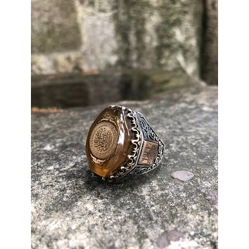 Mens amber gemstone ring 925 sterling silver with calligraphy writing