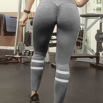 Grey-White Striped Pleated High Waisted Sports Yoga Workout Long Legging