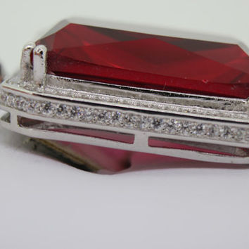 White Large Mens Ruby 28CT Pendant