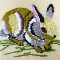 Vintage Embroidered Bunny Rabbit in Square Wooden Frame