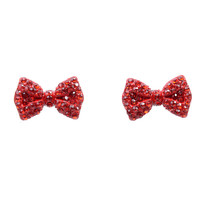 Red Rhinestone Bow Post Earrings