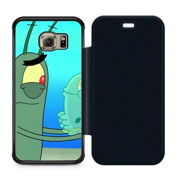 Plankton Spongebob Squarpants Leather Wallet Flip Case Samsung Galaxy S6 Edge