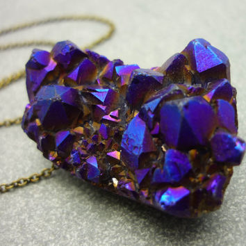 Titanium Quartz Cobalt Blue Druzy Crystal Geode Necklace - ICEBERG
