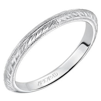 "Artcarved ""Imani"" Knife Edge Engraved Wedding Band"