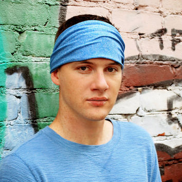 Mens Headband, Blue Headband Headwrap, Yoga Headband, Quick Dry Headband (Item 1203) Small
