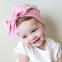 Baby Head Wrap Pink White Polka Dot Newborn Head wrap Baby Headband Bow Infant Toddler Girl Cotton Headband Big Bow Turban Dress Sash