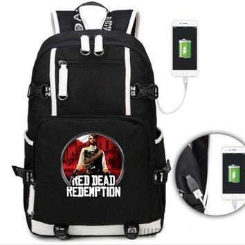 Hot game Red Dead Redemption 2 Backpack students USB Charging Mochila travel School Bag Casual Laptop bagpack for teenagers