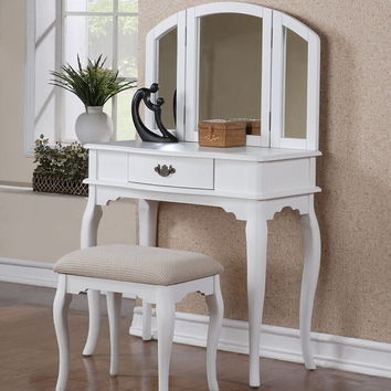 Poundex F4069 3 pc white finish wood make up bedroom vanity set with curved legs stool and tri fold mirror