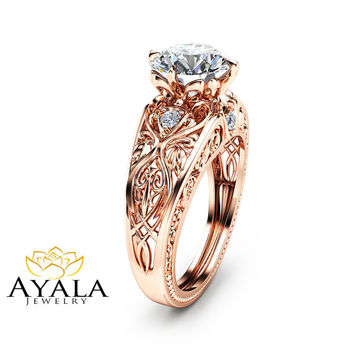 14K Rose Gold Engagement Ring Unique Design 2 Carat Moissanite Ring Art Deco Styled Rose Gold Ring