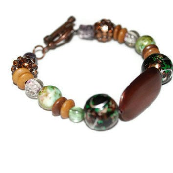 Funky Earth Tone OOAK Beaded Bracelet by chumaka on Etsy