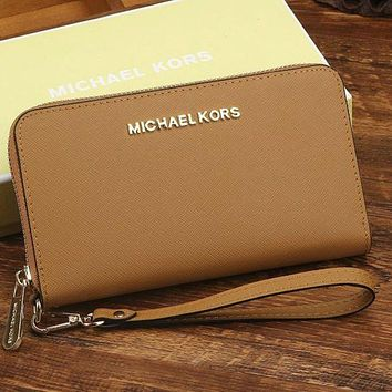 MK Women Leather Zipper Wallet Purse Brown