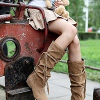 Hot Deal On Sale Plus Size Fashion Height Increase Ruffle Decoration Boots [120848678937]