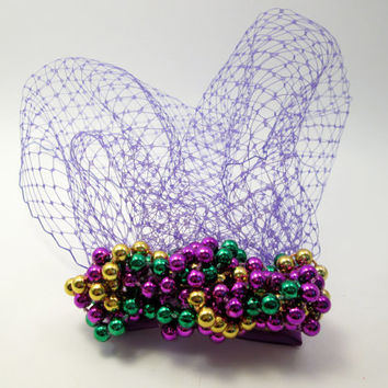Purple Mardi Gras Beads Knot Birdcage Veil Blusher - Carnival Themed Bachelorette Prop Fascinator - Engagement Photo - New Orleans Wedding
