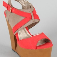 Qupid Luke-13 Two Tone Cut Out Platform Wedge