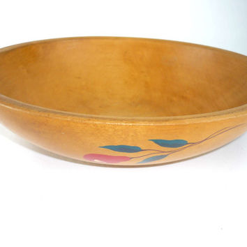 Vintage Large Wooden Dough Bowl Round Hand Painted Rustic Home Decor