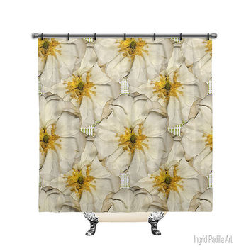 White Roses, Shower Curtain, Printed Fabric, Bath Decor, Home Decor, Funky, Art, by Ingrid Padilla