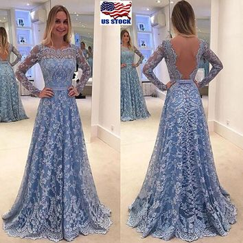 Women Long Formal Prom Dress Backless Party Ball Gown Evening Bridesmaid Dresses
