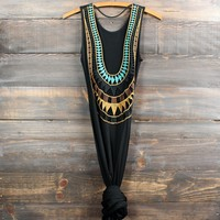 tribal crochet open back long maxi dress - black