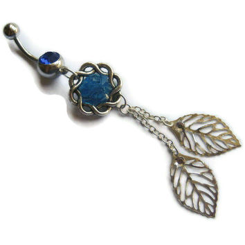 Leaf Belly Button Ring, Belly Button Jewelry, Navel Ring, Dangle Belly Ring