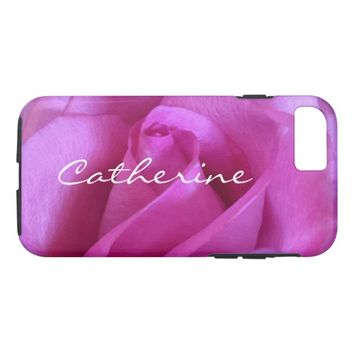 Pink purple rose photo custom name cell phone case