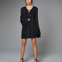 Embroidered Lace-Up Caftan Babydoll Dress