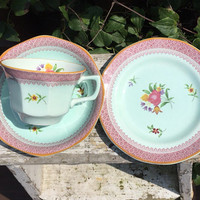Vintage Adams Ironstone tea cup set, vintage china dessert plate / bread and butter plate, Calyx Ware china, mid century pastel china dishes