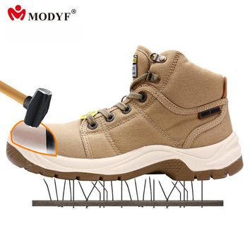 Modyf Men's DESERT outdoor boots steel toe cap crashproof all canvas shoes breathable