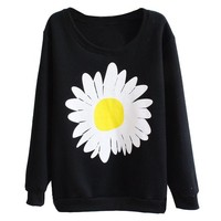 Partiss Womens Daisy Sweatshirt, S, Black