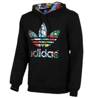 black Adidas Rainbow Print Women's Long Sleeve Hoodies Sweater
