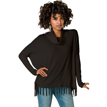 Black Turtleneck Fringe Hemline Tunic Sweater