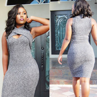 Grey Sleeveless Wrap Bodycon Dress
