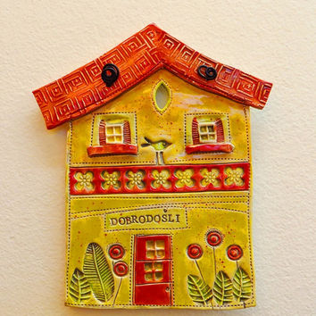 Ceramic house, ceramic wall hanging, clay house, pottery house, house hanging, welcome house, house ornament