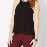 Black Beaded Chiffon Halter Top   Going Out   rue21