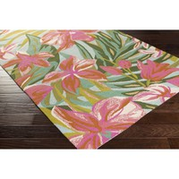 Oasis Indoor/Outdoor Rug, Baby Pink and Lime