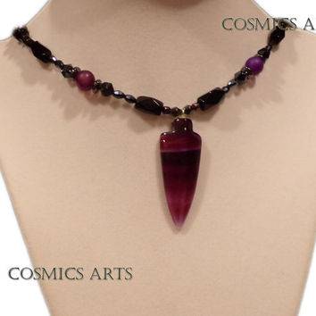 "Arrow Hematite Purple Necklace (19"") Gift for Her"