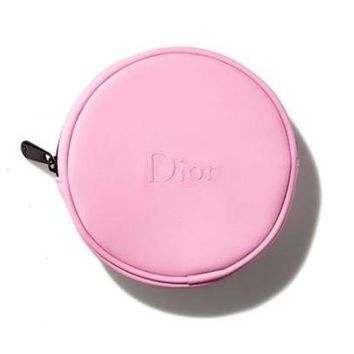 Dior Gift from Dior Counter Pink Round Cosmetic Makeup Bag Pouch ( see size )