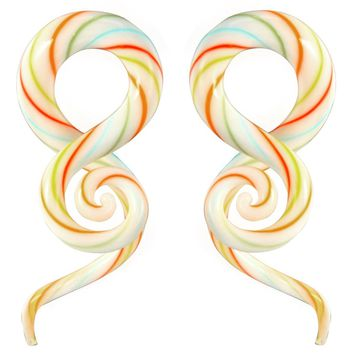 BodyJ4You Glass Spiral Taper Candy Cane Ear Gauges 4G-14mm Piercing Jewelry