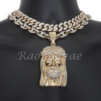 "Iced Out Anchor Jesus Charm 16"" Iced Out Choker 18"" Puffed Gucci Chain Set 56"