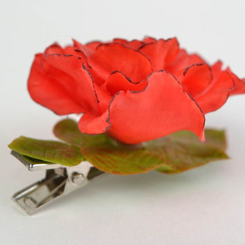 Beautiful homemade cold porcelain flower hair clip in the shape of red rose